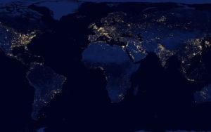 Jour du dépassement planisphere carte du monde de nuit