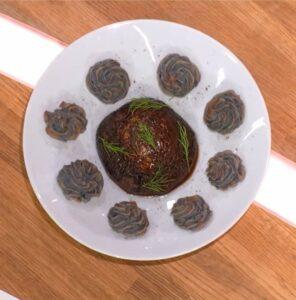 Recette cuisine durable durable Steak de champignons portobellos et pommes duchesses vitelottes
